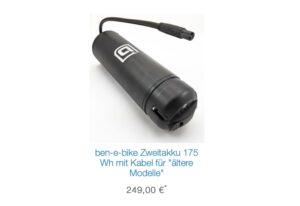 Ben-e-bike Zweitakku für ältere Modelle